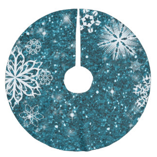 グリッターのターコイズID454の雪片 ブラッシュドポリエステルツリースカート