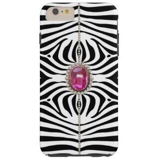 グリッターのダイヤモンドおよびシマウマ TOUGH iPhone 6 PLUS ケース