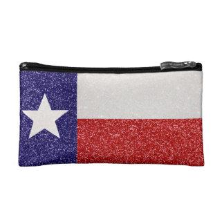 グリッターのテキサス州の旗の小さい化粧品のバッグ コスメティックバッグ
