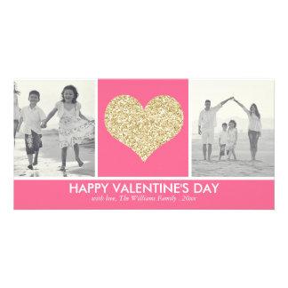グリッターのハートのバレンタインデーの写真カード カード
