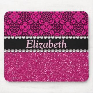 グリッターのピンクおよび黒いパターンラインストーン マウスパッド