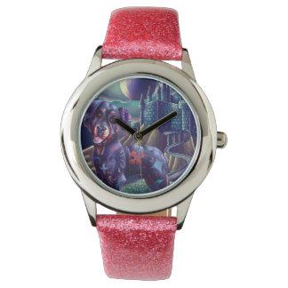 グリッターのピンクのカスタムな腕時計Roxyロットワイラー 腕時計