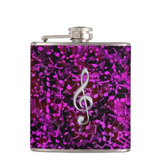 グリッターのピンクの音符のト音記号音楽フラスコ フラスク