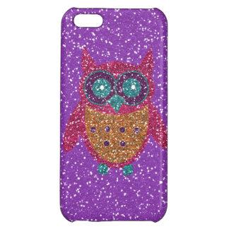 グリッターのフクロウの紫色のピンクのオレンジティール(緑がかった色)のiPhone 5の箱 iPhone5Cケース