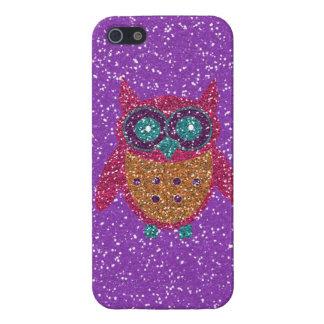 グリッターのフクロウの紫色のピンクのオレンジティール(緑がかった色)のiPhone 5の箱 iPhone SE/5/5sケース