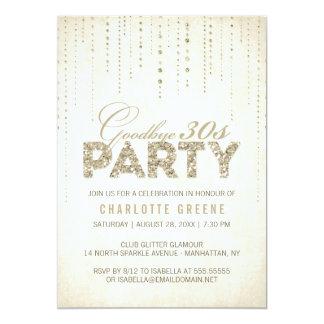 グリッターの一見のさようなら30s誕生日の招待状 カード