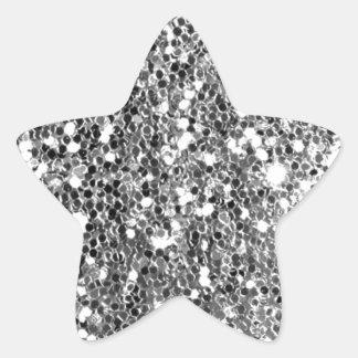 グリッターの一見の無地のな銀製の輝き 星シール