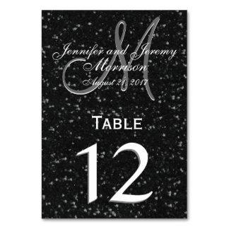 グリッターの一見の白黒モノグラムのテーブル数 カード