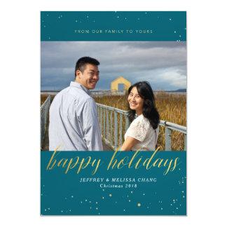 グリッターの休日の写真カード カード