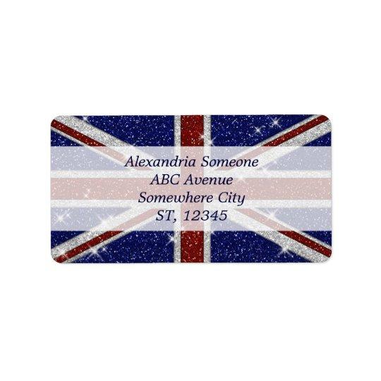グリッターの光沢がある輝きの英国国旗の旗 ラベル