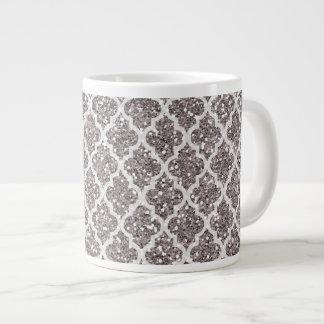 グリッターの効果の銀色のプラムクローバー ジャンボコーヒーマグカップ
