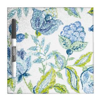 グリッターの効果の青い花のタペストリー ホワイトボード