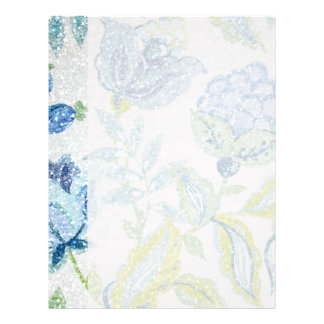 グリッターの効果の青い花のタペストリー レターヘッド