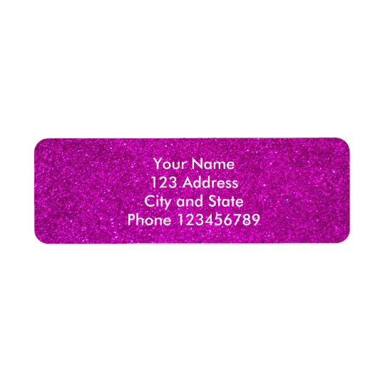 グリッターの差出人住所ラベル|の模造のなピンクの微光 返信用宛名ラベル
