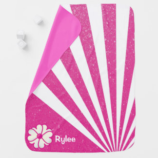 グリッターの抽象芸術の背景のピンクの花 ベビー ブランケット