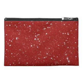 グリッターの星-銀製の赤 トラベルアクセサリーバッグ