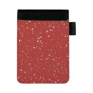 グリッターの星-銀製の赤 ミニパッドフォリオ
