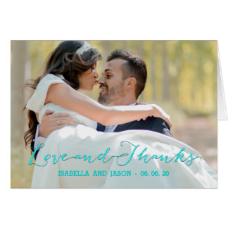 グリッターの書道の結婚式の写真のサンキューカード カード