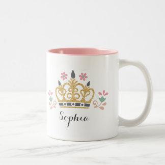 グリッターの王冠のモノグラム ツートーンマグカップ