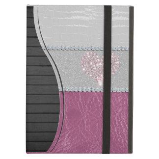 グリッターの白革およびピンクのきらきら光るなハート iPad AIRケース