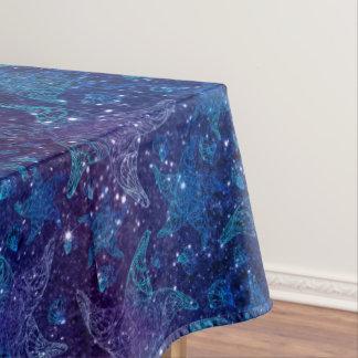 グリッターの神秘的で深く青いヒトデ テーブルクロス