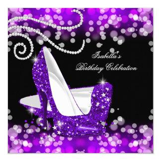 グリッターの紫色のハイヒールのダイヤモンドの誕生日 カード