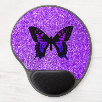 グリッターの紫色の蝶 ジェルマウスパッド
