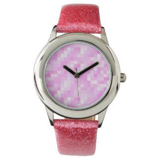 グリッターの腕時計、ピンクのグリッターの革紐 腕時計