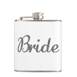 グリッターの花嫁の銀 フラスク
