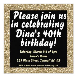グリッターの誕生日の招待 カード