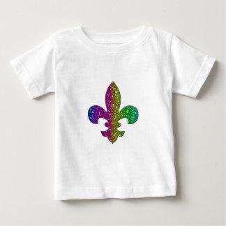 グリッターの輝きの(紋章の)フラ・ダ・リの数々のな色は名前を加えます ベビーTシャツ