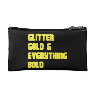 グリッターの金ゴールドおよびすべてはっきりしたな化粧品のバッグ コスメティックバッグ