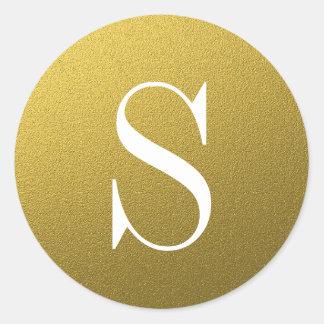 グリッターの金ゴールドのモノグラムの封筒用シール ラウンドシール