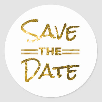 グリッターの金ゴールドの保存日付のシール ラウンドシール