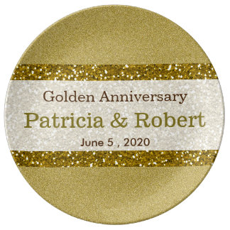 グリッターの金ゴールド第50の結婚記念日の記念品 磁器プレート