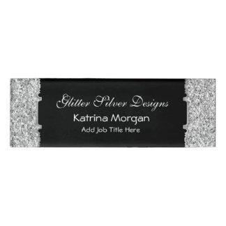 グリッターの銀製の優雅の細い名札 名札