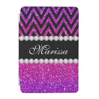 グリッターの黒のシェブロンのユニークなピンクの紫色のストライプ iPad MINI カバー