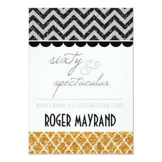 グリッターの黒、銀、金ゴールドの第60誕生日の招待 カード