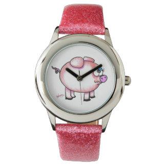 グリッターバンドが付いている愛らしい漫画のブタの腕時計 腕時計