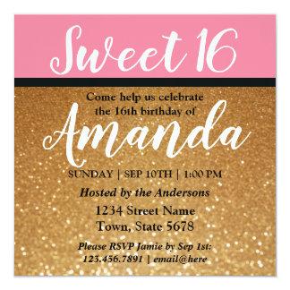 グリッター及びピンクの菓子16の誕生日のパーティの招待状 カード
