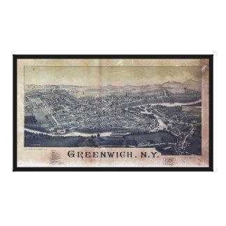 グリニッジ、ニューヨーク(1885年)の空中写真 キャンバスプリント