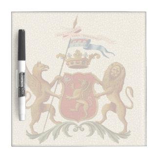 グリフィンおよびライオンが付いている荘厳なHeraldicバッジ ホワイトボード