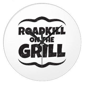 グリルのRoadkill -おもしろいなBBQのパーティ ラージ壁時計