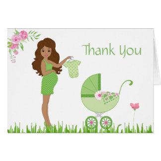 グリーンピースのベビーシャワーは感謝していしています カード