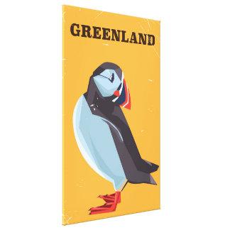 グリーンランドのツノメドリのヴィンテージ旅行ポスター キャンバスプリント