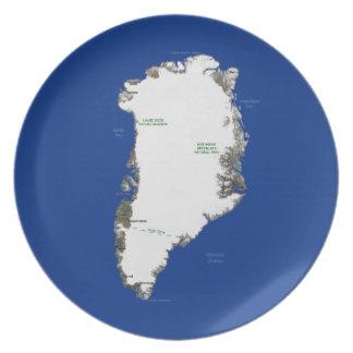 グリーンランドの地図のプレート プレート