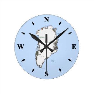 グリーンランドの地図の時計 ラウンド壁時計