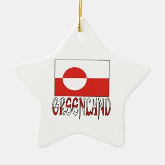 グリーンランドの旗の単語 セラミックオーナメント