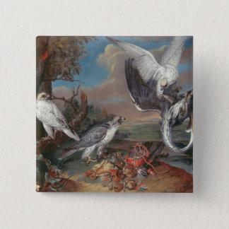 グリーンランドCyrの《鳥》ハヤブサ 5.1cm 正方形バッジ