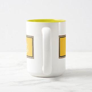 グルテンFree'D -ブラウンフレームとの黄色いロゴ ツートーンマグカップ